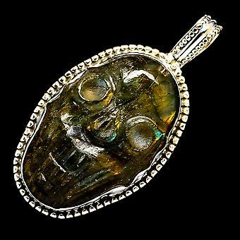Labradorite Skull 925 Sterling Silver Pendant 2 1/8