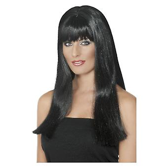 Womens Mystique peruk svart maskeraddräkter tillbehör
