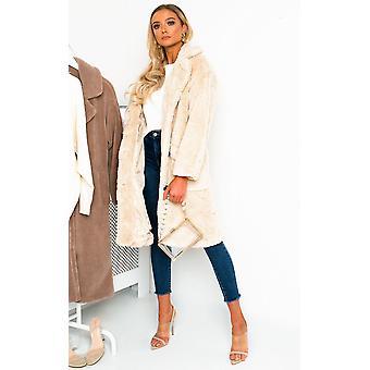 IKRUSH Womens Farah Teddy Bear Maxi Coat
