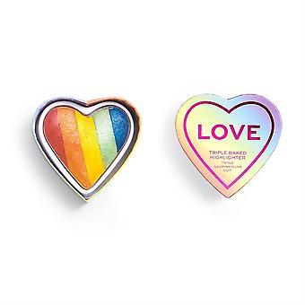Makeup Revolution x Pride Triple Baked Highlighter-Love