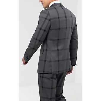 Dobell Mens Grey/Black Bold Check Suit Jacket Regular Fit