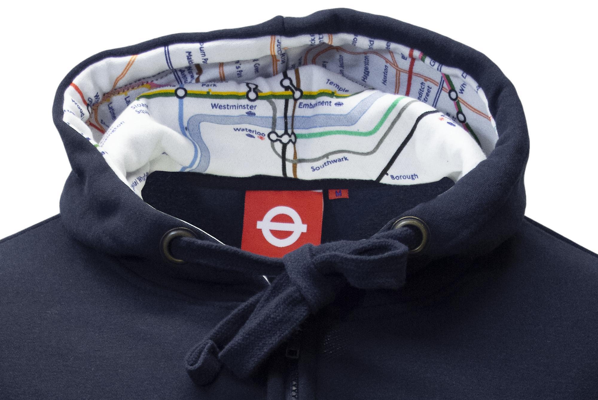 Tfl™129z licensed unisex london roundel™ zipped hooded sweatshirt navy