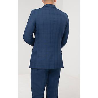 Dobell Mens Blue Check Kurtka Regular Fit Double Breasted Peak Lapel
