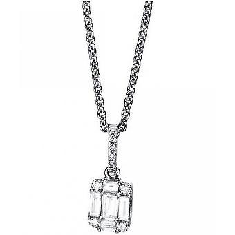 Diamond Collier 18 kt WG 5 Baguette Diamonds 0.19 ct