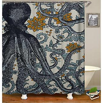 Vintage Octopus Flowery Background Shower Curtain