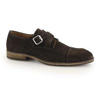 Selected Homme Bolton Mens Suede Monkstrap Shoes Brown/demitasse