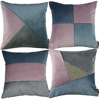McAlister textilier lapp täcke sammet lila, blå + grå kudde set