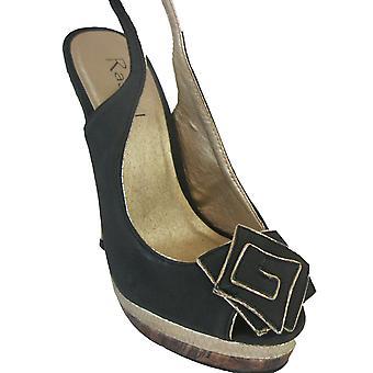 Rascal Gold Trim Corsage Peeptoe Slingback Heels