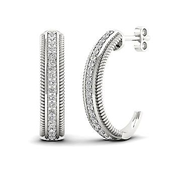 IGI Certified S925 Sterling Silver 0.25Ct Diamond Half- Hoop Earrings