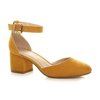 Ajvani Womens niedrigen mittleren Block Heel Ankle strap Mary Jane Gericht Schuhe Sandalen