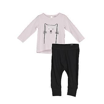 2 gedeelde babyset met top + broek-roze & zwart