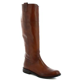 Leonardo Shoes Women's handmade boots in brown calf leather with side zip