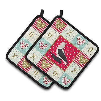 Saxon Fairy Swallow Pigeon Love Pair of Pot Holders