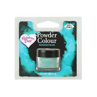 Poeira do arco-íris comestível Matt Powder Dust Colour 4g Pavão Azul
