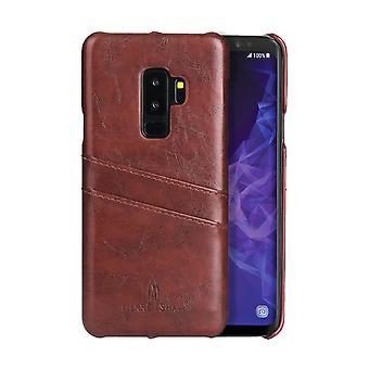 Samsung Galaxy S9 + PLUS ruskea deluxe nahka takaisin lompakko tapauksessa, lähtö tapauksessa