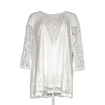 Joan Rivers Classics Collection Women's Top Lace 3/4 Sleeves Ivory A297991