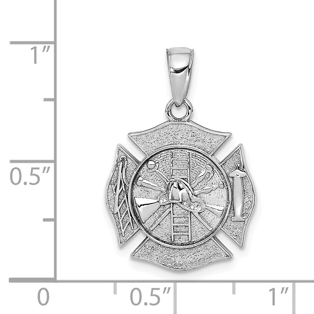 14k White Gold 3 d Fireman Shield Maltese Religious Faith Cross Charm Pendant Necklace Jewelry Gifts for Women