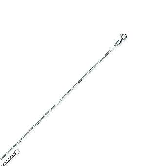 14k White Gold Adjustable 1.3mm Figaro Chain Ankle Bracelet 10 Inch Jewelry Gifts for Women