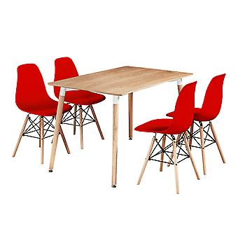 Mila Dining Table Set With 4 Eiffel Chairs