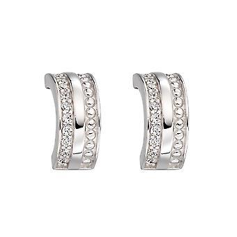 Fiorelli Silver & Cz Barrel Textured Hoop Earrings