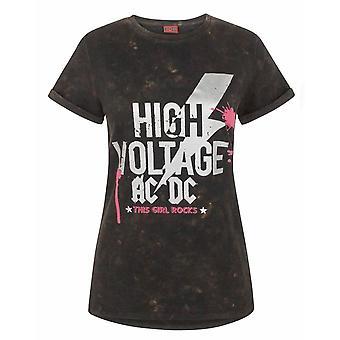 AC /DC Comics High Voltage Acid Wash Women&s T-Shirt