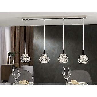 Schuller Hestia II - Lamp of 4 lights made of metal, chrome finish. Pressed clear glass shades. - 956384
