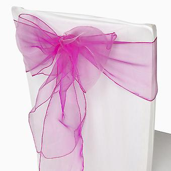 17cm x 274cm Organza Table Runners Wider et Fuller Sashes Rose vif