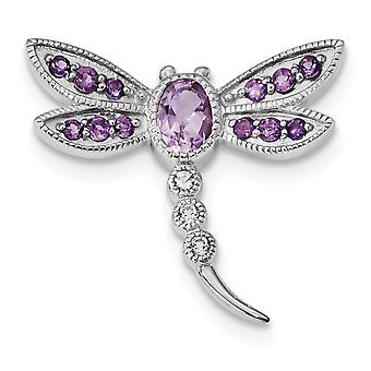 28.5mm 925 Sterling Silver Rhodium Pk. Quartz Am Wht Topaz Dragonfly Pin Chain Slide Jewelry Gifts for Women