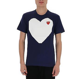 Comme Des Garçons Play P1t1841 Men's Blue Cotton T-shirt