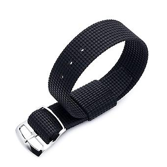 Strapcode n.a.t.o watch strap zulu g10 20mm or 22mm miltat raf n7 3-d woven nylon nato watch strap, matte black, polished ladder lock slider buckle