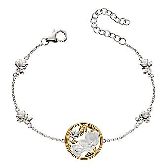 Joshua James Serenity Silver & Yellow Gold Plated Cherry Blossom Bracelet