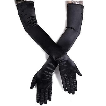 Restyle - cabaret evening satin gloves - black