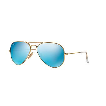 Lunettes de soleil Bleu multicouche Miroir Ray-Ban Aviator RB3025 112/17 Matte Gold/Green Mirror Multilayer