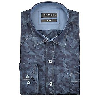 Oscar Banks Blue Print Denim Look Mens Shirt