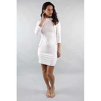 Nicole 3/4 sleeve chain trim white dress