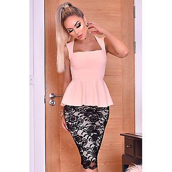 Pamela Contrast Lace Peplum Dress - Pink