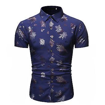 Allthemen الرجال & apos;s Bronzing المطبوعة عارضة قميص الأكمام القصيرة