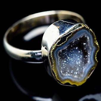 Coconut Geode Druzy Ring Size 12.75 (925 Sterling Silver)  - Handmade Boho Vintage Jewelry RING5544