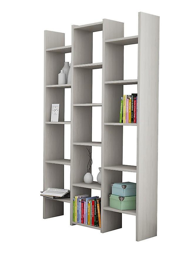 Libreria Multi 2 Color Rovere Ghiaccio in Truciolare Melaminico, Plastica, Ferro 91x28x180 cm