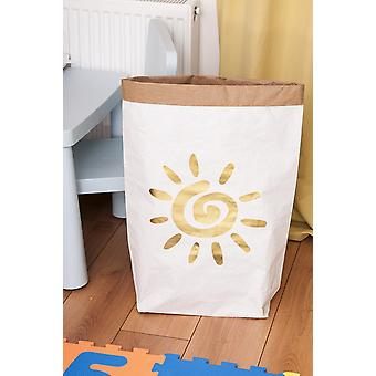 Gold Sonne Korb weiße Farbe, Gold in Kraft Karte, Vinyl, L50xP15xA60 cm