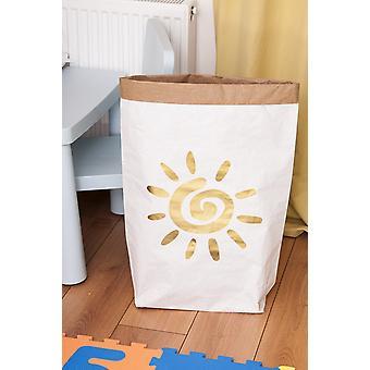 Gouden zon mand Witte Kleur, Goud in Kraft Kaart, Vinyl, L50xP15xA60 cm