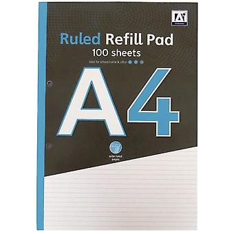 A4 Ruled White Paper Refill Notepad Notebook School College Office 100 Sheets