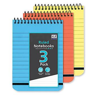 3 Pack Bright Colour Wide Ruled Paper Writing Notepads 50 Sheets 175mm x 125mm