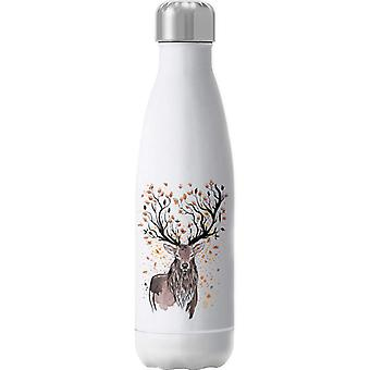 Deer Autumn Leaves Insulated Stainless Steel Water Bottle