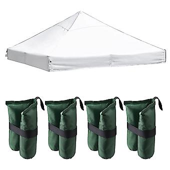 Instahibit 10x10Ft 550D Outdoor Event Pop Up Canopy Replacement CAPI-84 Tent Top Cover White with 4 Pack Weight Sand Bag
