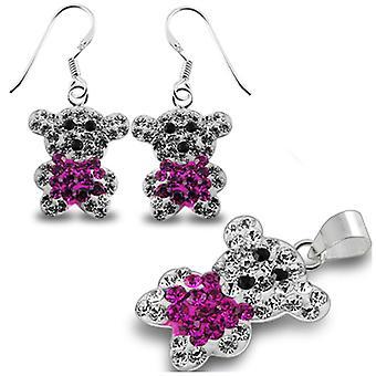 Crystal stone Studded Teddy bear earring Jewelry Set