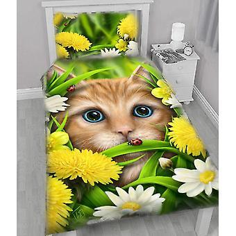 Summer cat - duvet & pillows covers set single bed