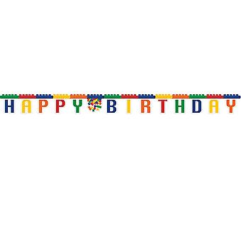 Premium Building Block Party Happy Birthday Jointed Banner - 2.3m