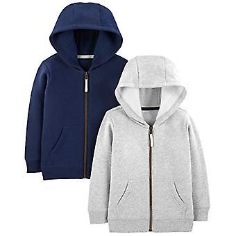 Simple Joys de Carterăs Boysă 2-Pack Fleece Full Zip Hoodies, Gray/Navy, 6-9 ...