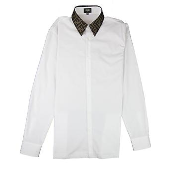 Fendi Ff Logo Colar Manga Comprida Camisa Branca